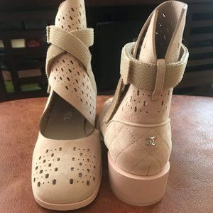 CHANEL mesh Velcro suede boots light pink,Size:37